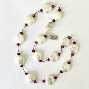 Freshwater Coin Pearl & Garnet Necklace